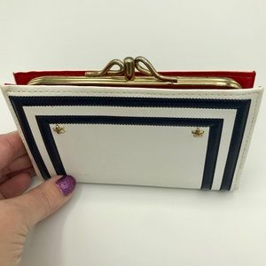 Vintage Wallet - White Blue with red interior
